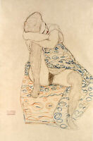 "24""x36"" Gustav Klimt Art Print Poster  Drawings Seated Figure Dress drawn up"
