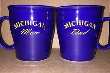 Michigan University Official Licensed Collegiate Mug Set Mom Dad Cobalt Blue