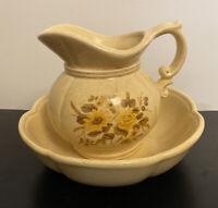 Vintage McCoy Pottery Pitcher & Bowl Basin #7528 Yellow Flowers Harvest USA