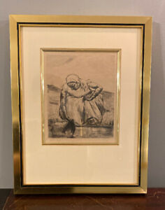 Woman With Water Pail Lesser Ury Pencil Signed Etching Framed 11X14 Proof ?