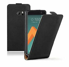 SLIM BLACK Leather Flip Case Cover Pouch For Mobile Phone HTC 10