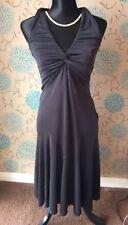 KAREN MILLEN Dark Grey Sheen Stretch Dress with Ruched Detail - Size 10