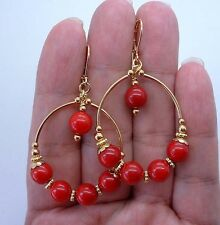 Beautiful Red Coral Hoop Gold Earrings -- Leverbacks A1228
