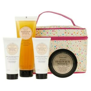Perlier Honey Body Honey Meil 4 piece set with Tote New, Fresh, Sealed