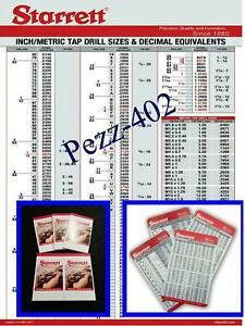 Starrett Decimal Metric Tap Drill Machinist Wall Chart, Pocket Cards & Pads