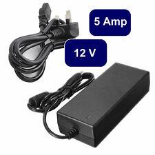 PSU DC 12V 5 Amp Power Supply Adapter UK 3 Pin Plug 12 Volt CCTV uk