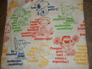LN Vintage PEANUTS Snoopy Charlie Brown Lucy Linus Twin Flat bed Sheet {Fabric}