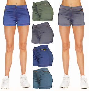 Women Jean Casual Summer Mid Waist Stretch Fitted Denim Shorts
