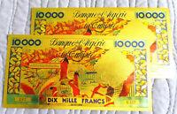 """ALGERIE ★ 2 BILLETS POLYMER  """" OR """" AVEC COULEURS DU 10000 FRANCS ANNEES 60 ★ 7"""