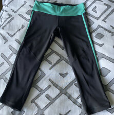 Lululemon Women's Run For It Crop Deep Coal Wild Lime Leggings Gray/Green Mint 6