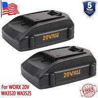 2X 20V WA3520 WA3525 For WORX 20V Max Lithium Battery WG545 WG155 WG255 WG163