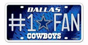 Dallas Cowboys #1 Fan 1801 Aluminum Metal Novelty Tag License Plate Football
