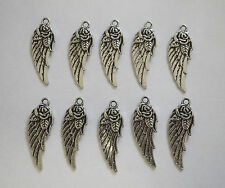 10 Metal Antique Silver Angel Wings/Tercel Wings with Flower Charms - 30mm