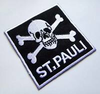 Skull Crossbones St.Pauli Logo Embroidered Iron on Patch Free Postage