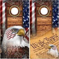 American Flag Wood Camo Eagles Cornhole Wrap Bag Toss Skin Decal Sticker