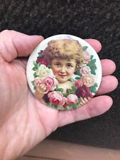 Victorian Style Beautiful POCKET MIRROR Young Girl with 11 Roses