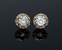 2.00ctw Halo Marquise Created Diamond Stud Earrings 14K Yellow Gold