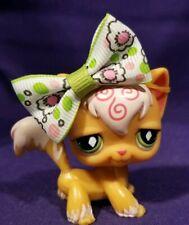 Littlest Pet Shop #511 Angora Kitty Cat Orange White Swirls Green Diamond Eyes