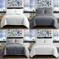 3 Piece Bedspread Quilted Bed Throw Embossed Bedding Set Single Double King Size