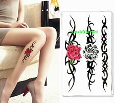 3 x temporary tattoo sheet party body art fancy dress girls ladies rose flower