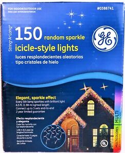 GE - 150 Random Sparkle Icicle-Style Lights - Elegant - Multicolor - NEW in box