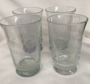 Vtg Set Of 4 Hand Blown Clear Drinking Glass Tumbler W/ Bubbled Heavy base