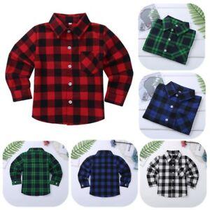 Boys Girls Long Sleeve Plaid Flannel Shirt Toddler Cotton Button Up Casual Shirt