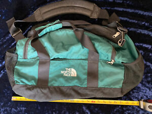 The North Face Duffle Bag Green With Compartments Padded Shoulder Strap Blk Trim