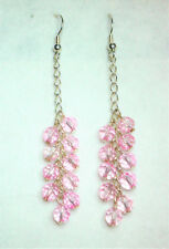 Pink glass cluster drops silver tone chain and hook Approx. 7.5cm