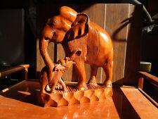 """Rare Antique vintage Solid Teak? Wood Hand Carved Elephant & Baby 15 """" Huge"""