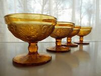 Tiara Indiana Glass 4 Amber Sandwich Footed Ice Cream Dessert Cups Sherbets