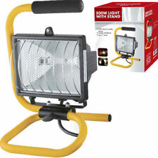 Portable Flood Light Night Work Building Yard Halogen Weatherproof with Stand