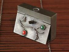 Vintage Asian Jeweled Brass Box… possibly match box...