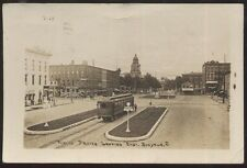 RP Postcard BUCYRUS Ohio/OH  Public Square Business Storefronts w/Trolley 1910's