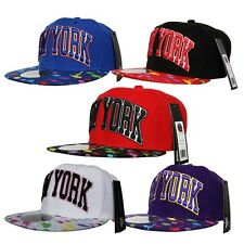 City Hunter NY New York SNAPBACK Splash Paint Print Flat Peak Cap Hat Snap Back