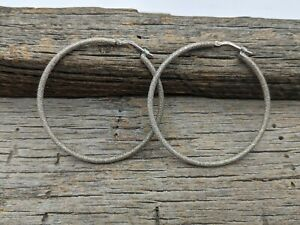 """Milor Italy Sterling Silver Glittery Finish Textured Hoop Earrings 1 3/4"""""""