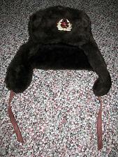Vintage Soviet Military Faux Fur Brown Winter Ushanka Hat