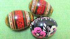 (3) Vintage European Folk Art Wood Painted Easter Eggs