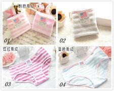 4 Pcs Packed XL Stripes Cotton Girl Women Briefs Panties Underpants Underwear