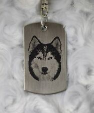 Siberian Husky Engraved Stainless Steel Pendant on KeyRing with Swivel Connector