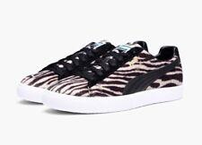 Puma Clyde Suits Faux Fur Men's Shoes 363426 01 Oatmeal Black Zebra Print Size 9