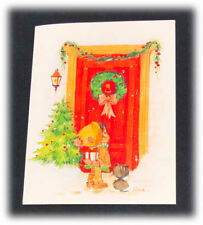 Vintage Forget Me Not Embossed Urchins Elena Kitty Christmas Tree Wreath Card