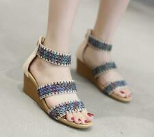Apricot EU 40 Women's Open Toe Summer Sandals Med Wedge Heels Knitted Shoes New