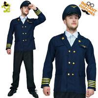 Adult Men Airline Pilot Costume Pilot Suit  Role Play Blue Uniform Top Costumes