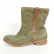 N.D.C. Boots Stiefeletten Gr. EUR 38 Damen Schuhe Grün Echt Leder Stiefel Shoes