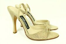 Claudio Milano Womens Sandal Beige Suede Crystal Size 35 Italy #263