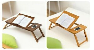 Wooden Table Foldable Lightweight Adjustable Easy to Carry for Laptop Books Home