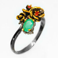 18k Yellow Gold Solid Natural Gemstone Emerald 925 Sterling Silver Ring / RVS73