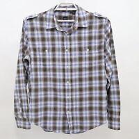 Hugo Boss Button-Up Shirt Mens XL Slim Fit Plaid White Blue Brown 100% Cotton