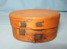 Shaker Covered Wood Box with Hand Made Staples & Square Nails Antique 1800's